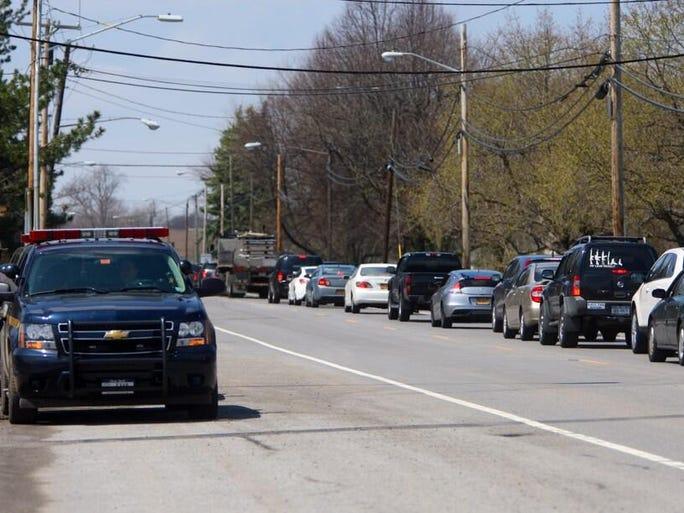 Traffic backed up near the I-390-Buffalo Road overpass on Thursday.