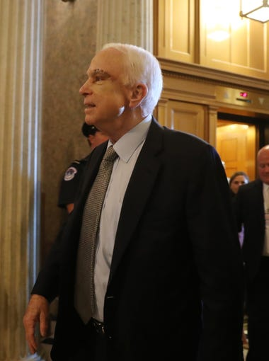 After being diagnosed with brain cancer, Sen. John McCain, R-Ariz., arrives on Capitol Hill in Washington D.C., July 25, 2017, as the Senate was to vote on health-care legislation.