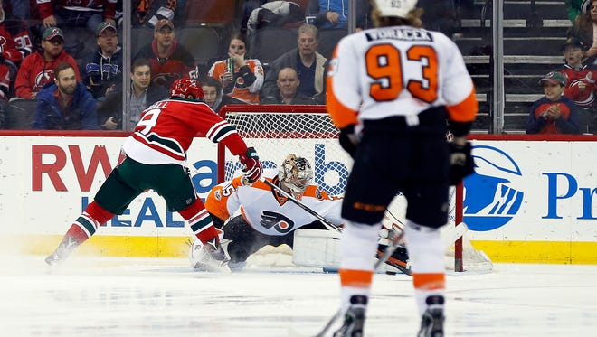 Taylor Hall's highlight-reel breakaway goal was indicative of the way Flyers-Devils games have gone in recent seasons.