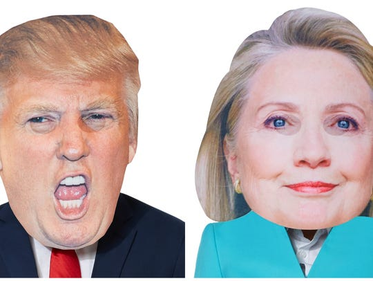 "Spirit Halloween's ""Cry Baby Trump Mask"" and ""Hillary"