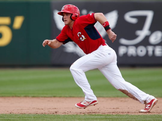 Harrison Bader takes off from second during the Springfield