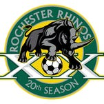 The Rhinos' new 20th-anniversary logo was designed by local artist, Jason Dawes.