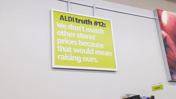 Aldi truths are scattered throughout the store.