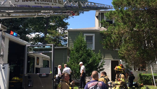 Firefighters working apartment blaze at 34 Woodland Drive in Suffern