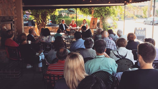 A crowd came out to learn about the arts in Louisville from Kim Baker and Todd Lowe with Elizabeth Kramer.
