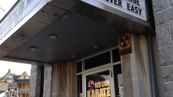 This fallout shelter is affixed to the former bank building on Red Lion's square.