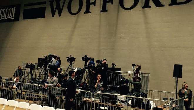 News media get ready to cover a Donald Trump campaign appearance Friday at Wofford College.