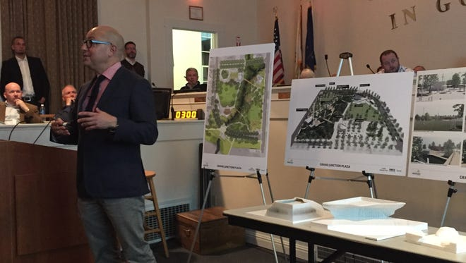 David Ruben of the Philadelphia-based Land Collective details the new Grand Junction Plaza design at Westfield City Hall on Thursday, Jan. 7, 2016.