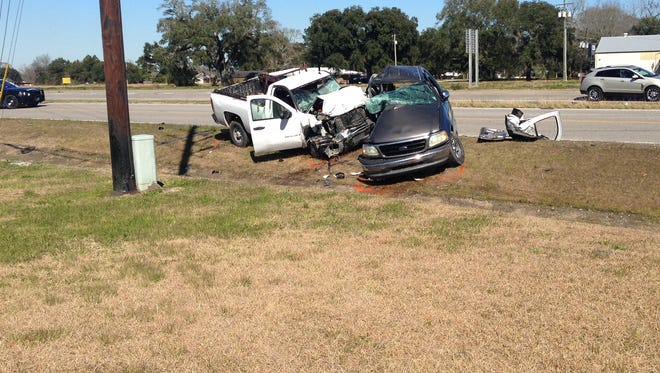A New Iberia man was killed Friday in a two-vehicle car wreck.