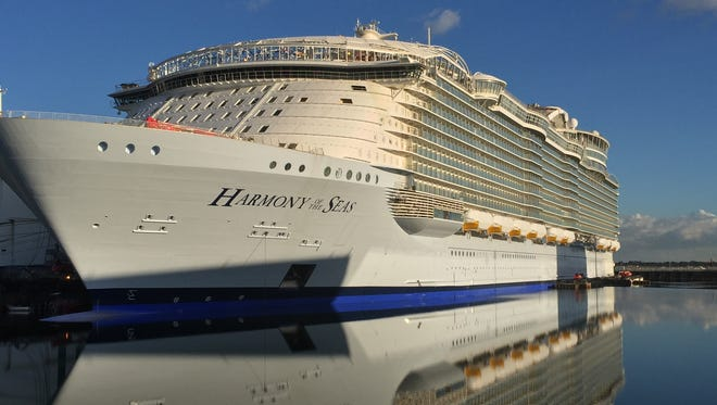 At 227,000 tons, Royal Caribbean's Harmony of the Seas is the largest cruise ship ever built.