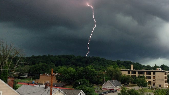 Hilary Renna of Morristown caught this dramatic view of a bolt of lightning a 204 storm in Morristown.