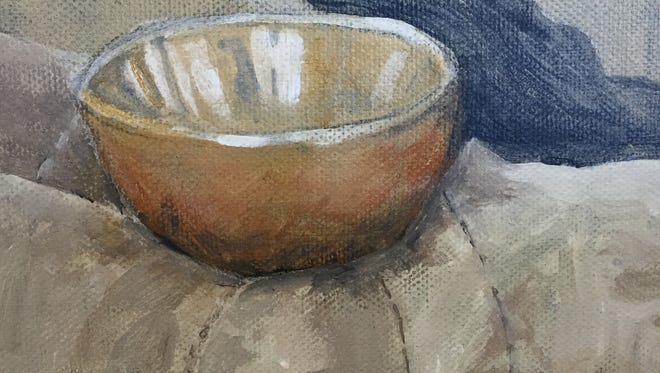 """Singing Bowl with Ski Mitten,"" painting by Kristi Roenning, part of her ""Objects of My Affection"" solo exhibit Sept. 3-5 at Chez Cheryl Artspace."