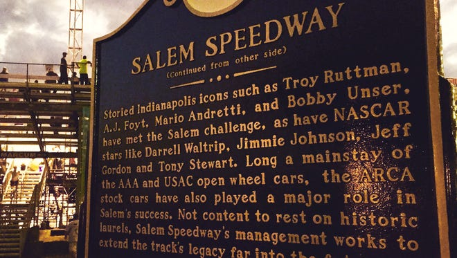 The Indiana Racing Memorial Association dedicated a marker at the Salem Speedway on Sept. 9, 2016.