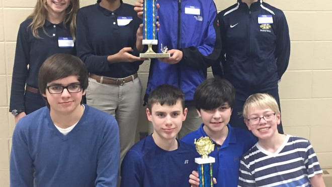 47th Annual Grade School Math Bowl winning teams. First row, St. Francis of Assisi, Manitowoc: Matthew Taddy (from left), Keaton Norell, Matthew Reel and Joseph Ehmke Zimmer. Second row, Lake Country Academy: Bailey Joyce (from left), Megha Brahmbhatt, Misha-el Maier and Olivia Holtz.