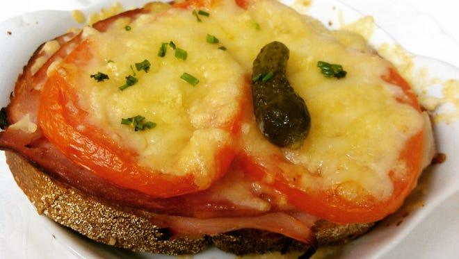 Open-face ham sandwich at Madeleine Petit Paris