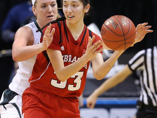 Michigan State's Becca Mills (left) guards Nebraska's Rachel Theriot, who had eight assists Saturday after a record 18 Friday.