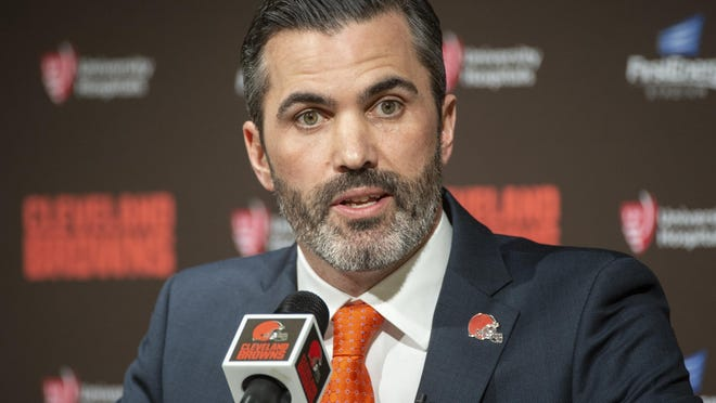 Cleveland Browns new NFL Football head coach Kevin Stefanski answers a question during a news conference at FirstEnergy Stadium in Cleveland,Tuesday, Jan. 14, 2020.