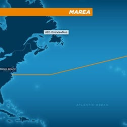 The route of a proposed undersea cable being financed by Microsoft and Facebook. The cable will run between Virginia Beach, Va. and Bilbao, Spain.