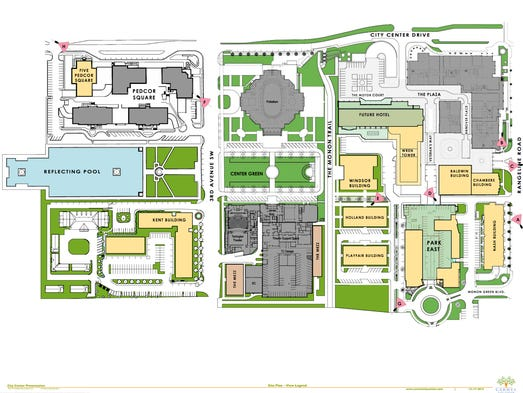 Plans for the next phases of development for Carmel City Center were unveiled on Dec. 17, 2013.  This is a site plan from Pedcor.