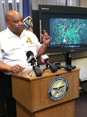 Indianapolis Metropolitan Police Department Chief Rick Hite describes the body camera video shown to the news media from the April 12, 2015, officer-involved fatal shooting of suspect Mack Long, who fled police after a traffic stop. Two officers fired a total of four shots at Long, three of which struck hiim.