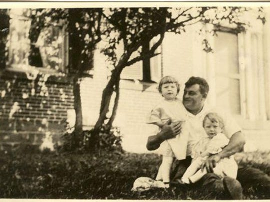 Lev Conant with twin daughters Constance and Virginia. Both girls became nurses with the U.S. Army during World War II in Europe.