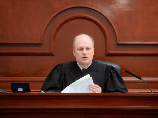 District Court Judge John Parker presides over intial appearance hearings on Monday at the Cascade County Courthouse. Parker was recently appointed to the bench by Governor Steve Bullock.