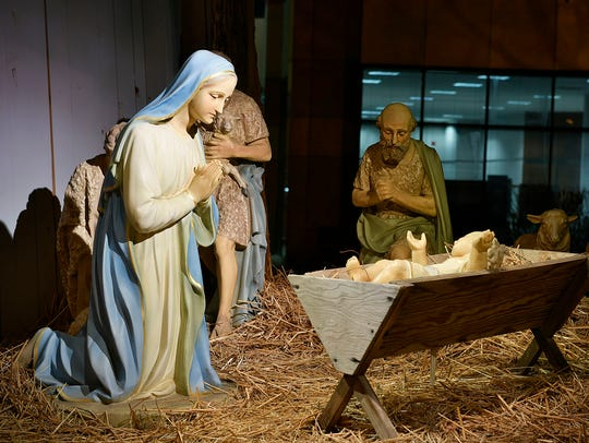 A nativity scene purchased in 1944 now sits in front