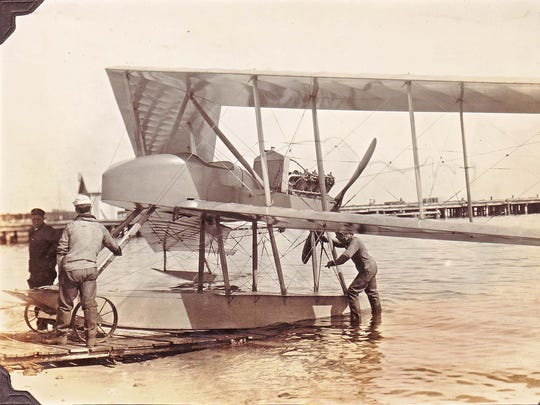 A Burgess-Dunne AH seaplane is pictured during evaluation at Pensacola Naval Air Station. It was ahead of its time with its swept wings and lack of a tail.