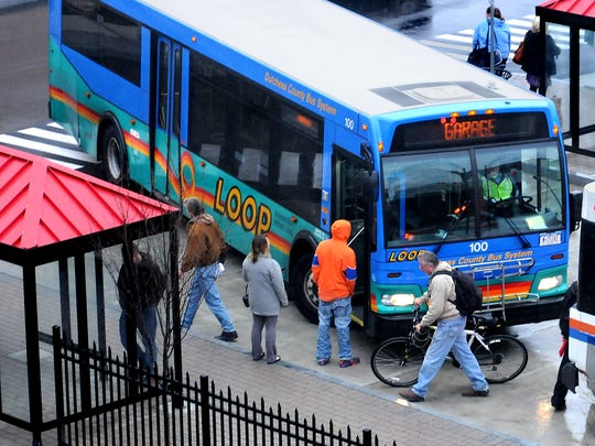 A Dutchess County Loop bus pulls into the City of Poughkeepsie