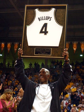 Chauncey Billups, a former Colorado star, holds up