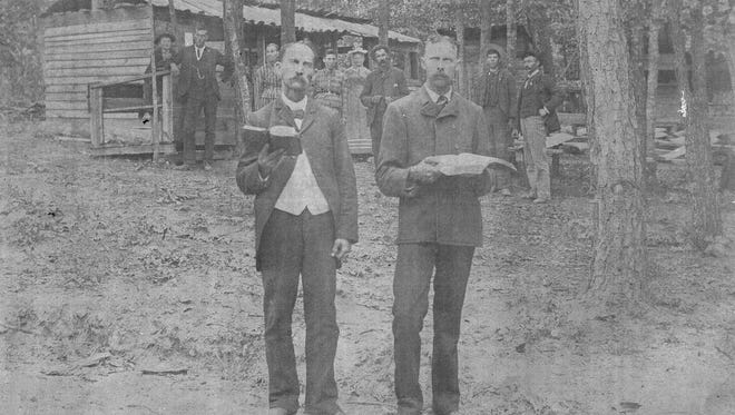 Preacher Jones, at the right, stands with an unknown preacher at an unknown camp meeting site somewhere in Augusta County.