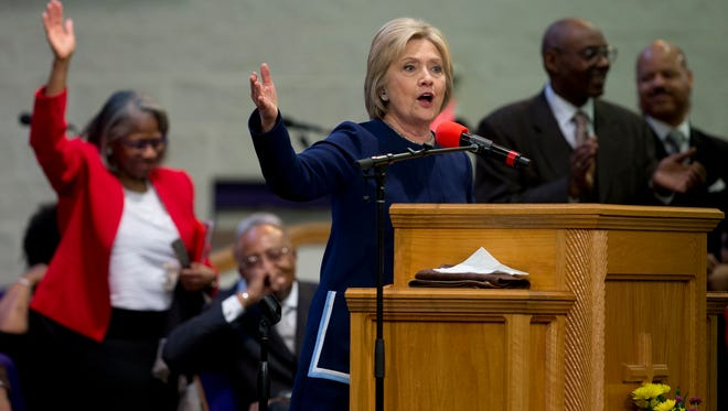In this Sunday, March 13, 2016 file photo, Democratic presidential candidate Hillary Clinton speaks during service at Mount Zion Fellowship Church in Highland Hills, Ohio. A key aspect of Methodism _ social justice _ comes into play when looking at Clinton's life as a public servant, says Stephen Gunter of the Duke Divinity School.