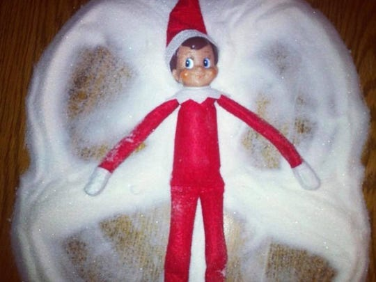 "Elf on the Shelf ""snow"" angel. It's really sugar."