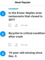 """The Naples Daily News """"Most Popular"""" section makes sure you don't miss the most important stories."""