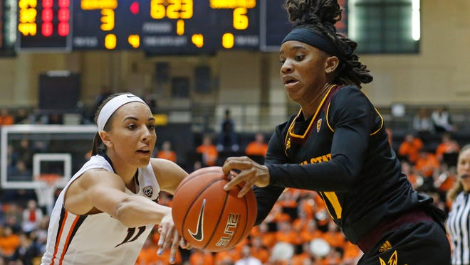 Oregon State's Gabriella Hanson, left, tries to steal the ball from Arizona State's Peace Amukamara in the first half of an NCAA college basketball game in Corvallis, Ore., on Monday, Feb. 1, 2016.
