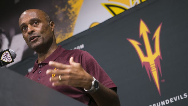 Ray Anderson, ASU Vice President of University Athletics and Athletic Director, talks about the new changes to Sun Devil Stadium and donors at Sun Devil Stadium in Tempe on Tuesday,  September 8, 2015.