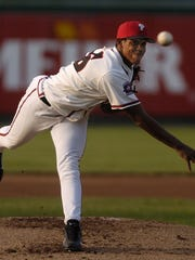 Carlos Marmol pitches for the Lugnuts during a game against South Bend in 2004.