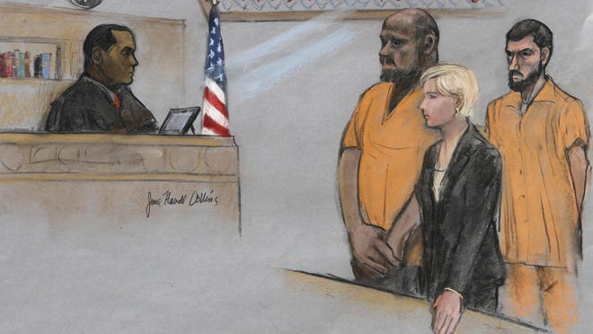 In this June 19, 2015, file courtroom sketch, David Wright, second from left, is depicted standing before Magistrate Judge Donald Cabell, left, with attorney Jessica Hedges, second from right, and Nicholas Rovinski, right, during a hearing in federal court in Boston. A man convicted of leading a plot to behead blogger Pamela Geller on behalf of the Islamic State group will serve even longer behind bars after he was sentenced for a second time Monday, Sept. 28, 2020 and ordered to 30 years in prison. David Daoud Wright was originally sentenced to 28 years in prison in 2017 but was ordered to be sentenced again by a different Boston federal court judge after an appeals court last year overturned one of his convictions.