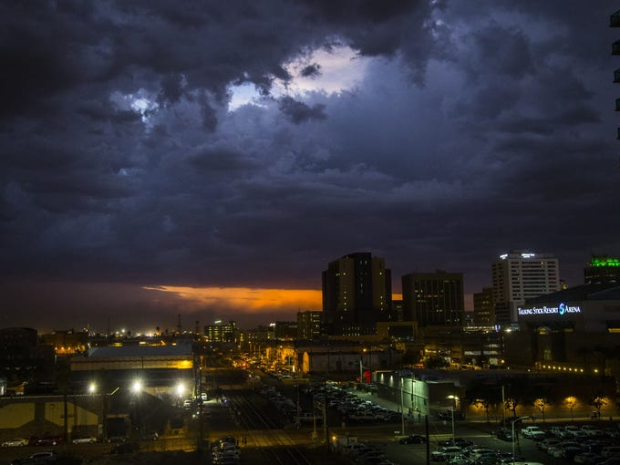 Rain and lightning hit downtown Phoenix, Ariz. on July