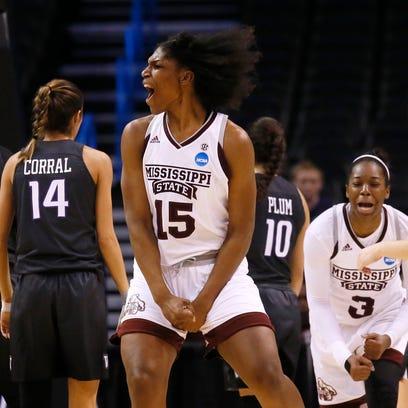 Mississippi State center Teaira McCowan (15) celebrates