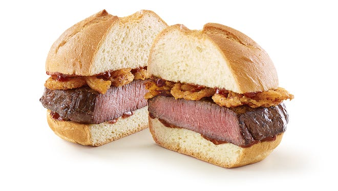 The sandwich will include thick-cut venison steak and crispy onions on a roll.