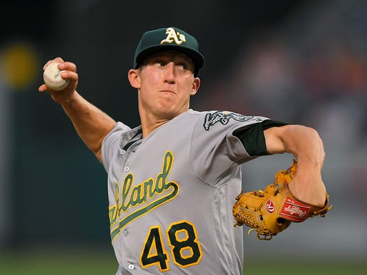 Oakland Athletics starting pitcher Daniel Gossett throws to the plate during the first inning of a baseball game against the Los Angeles Angels, Monday, Aug. 28, 2017, in Anaheim, Calif. (AP Photo/Mark J. Terrill)