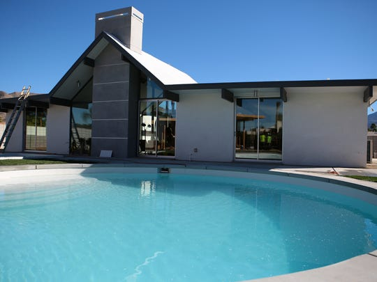 A circular swimming pool adorns the backyard of Desert Eichler #1 in Palm Springs, Calif., as seen on Thursday, February 12, 2015. The main home has four bedrooms and three bathrooms and a separate 352 square foot casita.