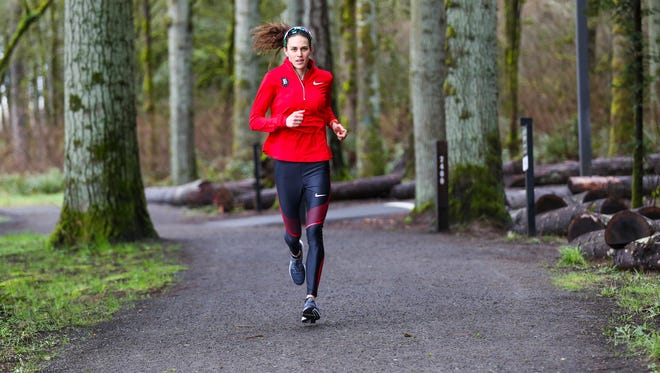 Gwen Jorgensen trains in pursuit of Olympic gold in the marathon at the 2020 Tokyo Games.