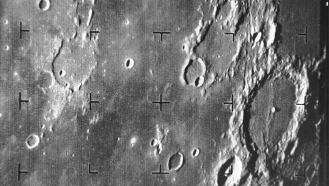 Ranger 7 took this image, the first picture of the moon by a U.S. spacecraft, on July 31, 1964, at 9:09 a.m., about 17 minutes before impacting the lunar surface.