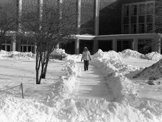 Snow accumulation on Ball State's campus from the blizzard
