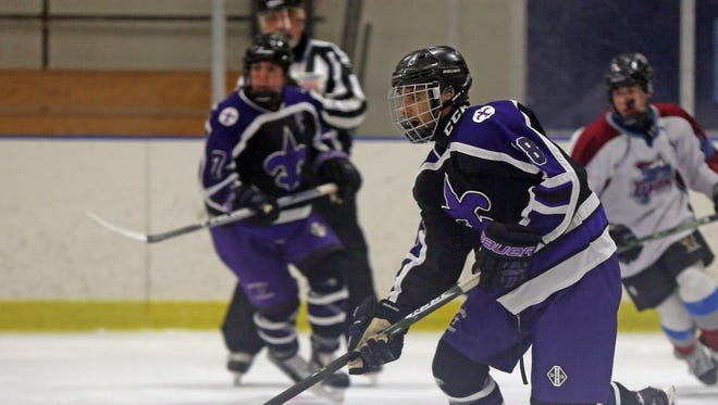 Rye Town/Harrison plays New Rochelle during ice hockey at Rye Country Day School on Jan. 25, 2017.