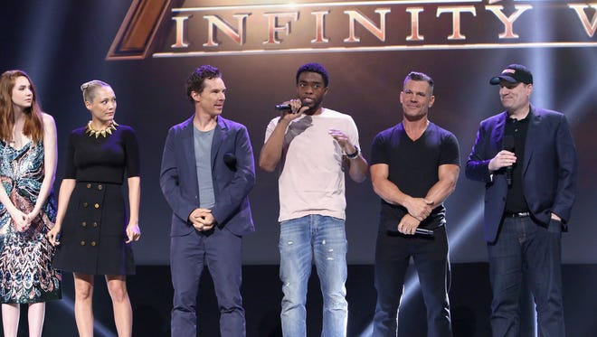Karen Gillan, Pom Klementieff, Benedict Cumberbatch, Chadwick Boseman, Josh Brolin and producer Kevin Feige of 'Avengers: Infinity War' at D23 Expo.