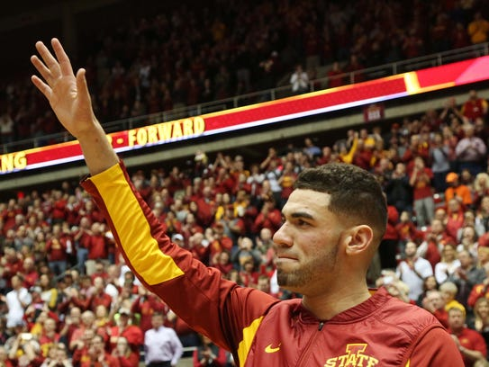 Iowa State's Georges Niang waves to the crowd on senior