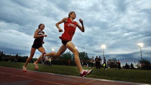"""Geneva's Christine Driscoll and Pittsford Mendon's Shaylyn Tuite set the pace in the 2010 Runnin' Cadet Classic's """"The Glavin''"""